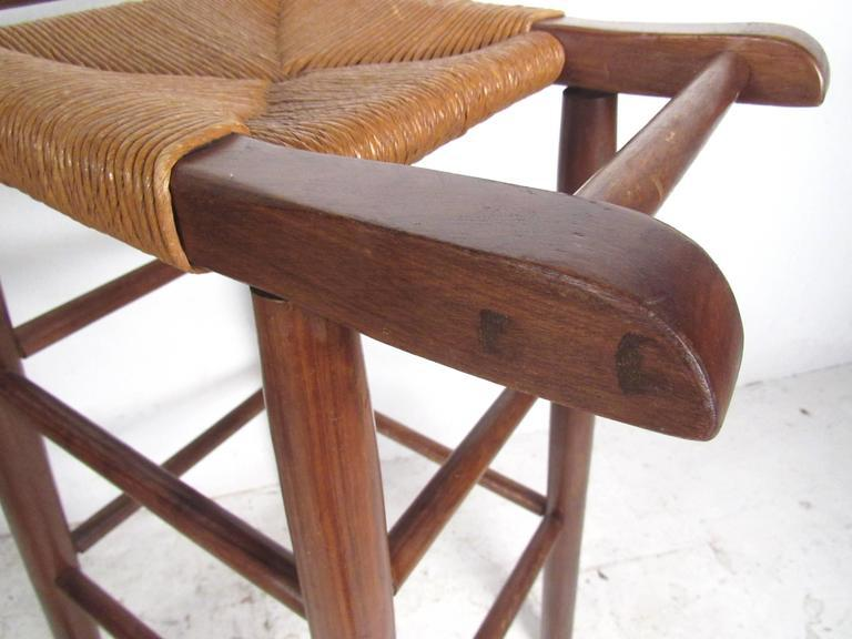 Charlotte Perriand Style Rush Seat Bar Stools Set Of 4