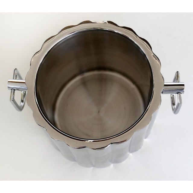 Vintage Stainless Steel Art Deco Style Ice Bucket For Sale In Miami - Image 6 of 7