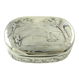 Antique Georgian Sterling Silver & Gilt Snuff Box London 1805 Fishing Sailboat Interest Gift for Him For Sale