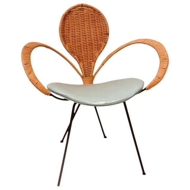 Mid-Century Style Rattan Armchair For Sale