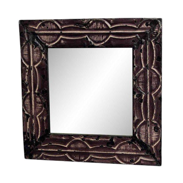 Purple Antique Tin Mirror with Dumbbell Design For Sale