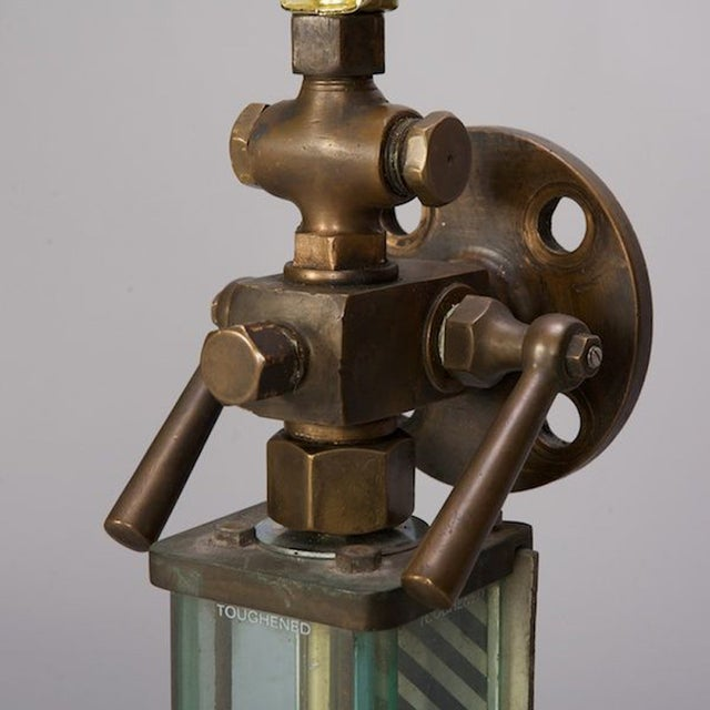 Brass, Glass & Iron Industrial Table Lamps - Pair - Image 5 of 5