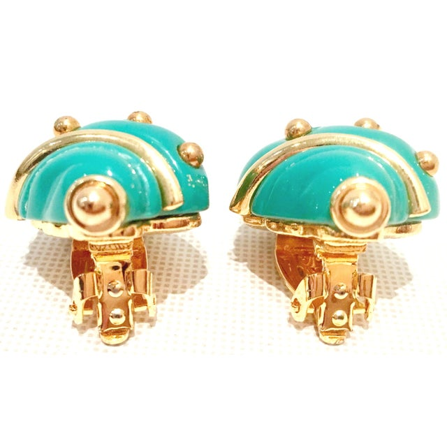 20th Century Kenneth J Lane Gold & Enamel Snail Form Earrings For Sale In West Palm - Image 6 of 11