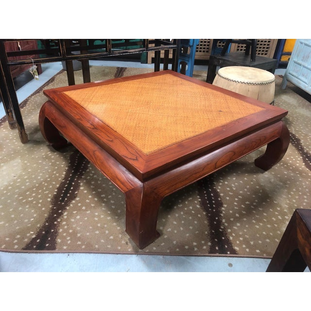 20th Century Ming Style Cane Top Coffee Table For Sale In West Palm - Image 6 of 8