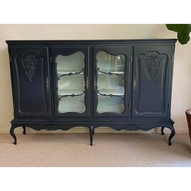 20th Century French Country Dark Gray Hutch Buffet For Sale - Image 10 of 10
