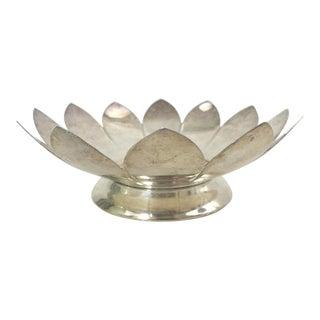 Vintage Leonard Silver Plate Lotus Flower Dish For Sale