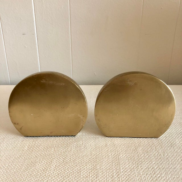 1980's Brass Mid Century Half Sphere Bookends - A Pair For Sale - Image 4 of 6
