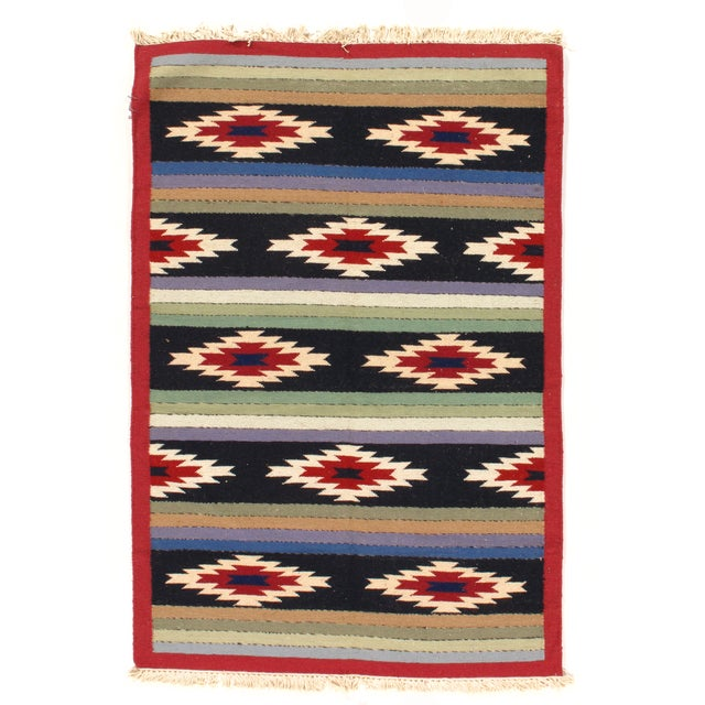Hand Woven Reversible Kilim Rug - 4' X 6' For Sale