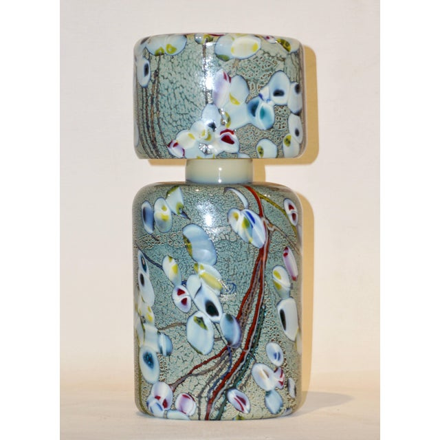Pino Signoretto 1980s Silver Green Blue Yellow Red Murano Glass Bottles - A Pair For Sale - Image 11 of 13