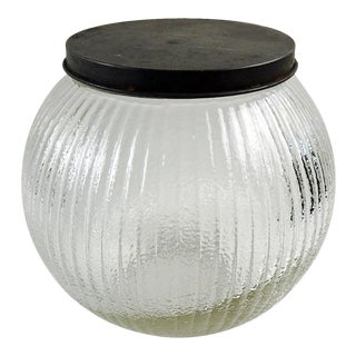 Vintage Ribbed Glass Jar For Sale