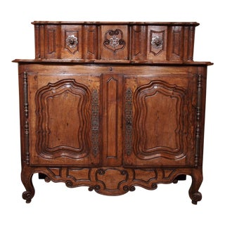Early 18th Century French Carved Walnut Buffet For Sale