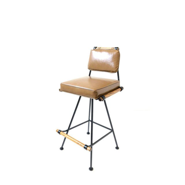Mid-Century Modern Set of Three Swivel Barstools For Sale - Image 3 of 10