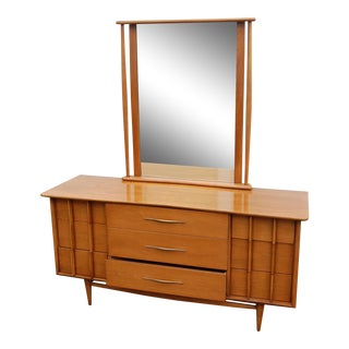1950s Mid-Century Modern Lowboy With Mirror For Sale