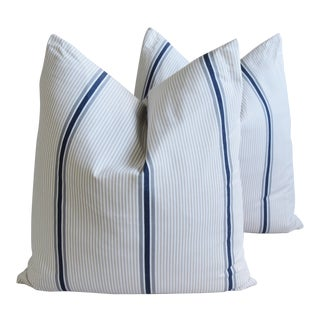 "French Blue/Gray/Tan/White Striped Ticking Feather/Down Pillows 23"" Square - Pair For Sale"