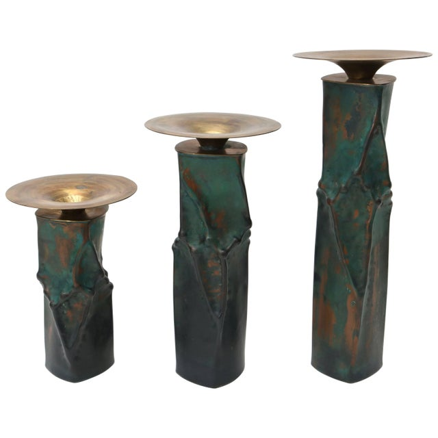 Brutalist Oxodized Copper and Brass Candleholders - Set of 3 For Sale - Image 11 of 11
