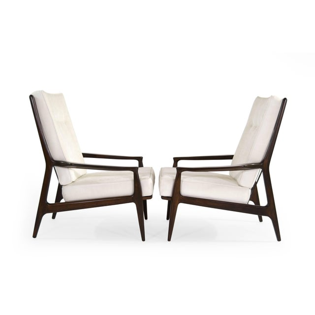 Mid-Century Modern Milo Baughman for Thayer Coggin Walnut Archie Lounge Chairs For Sale - Image 3 of 11