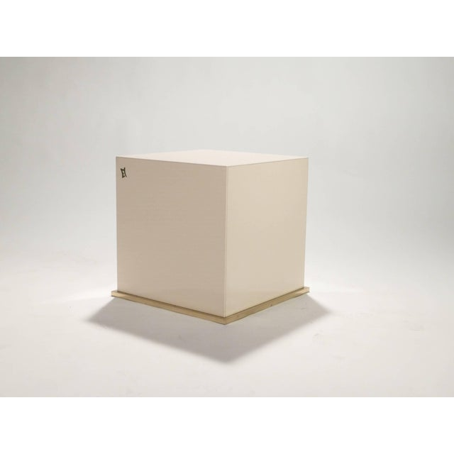 Mid-Century Modern Jc Mahey Lacquer and Brass Cube Side Table, 1970s For Sale - Image 3 of 6