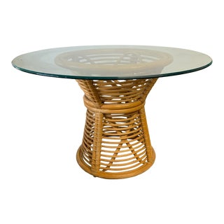 Horizontal Rattan Albini Style Pedestal Dining Table For Sale