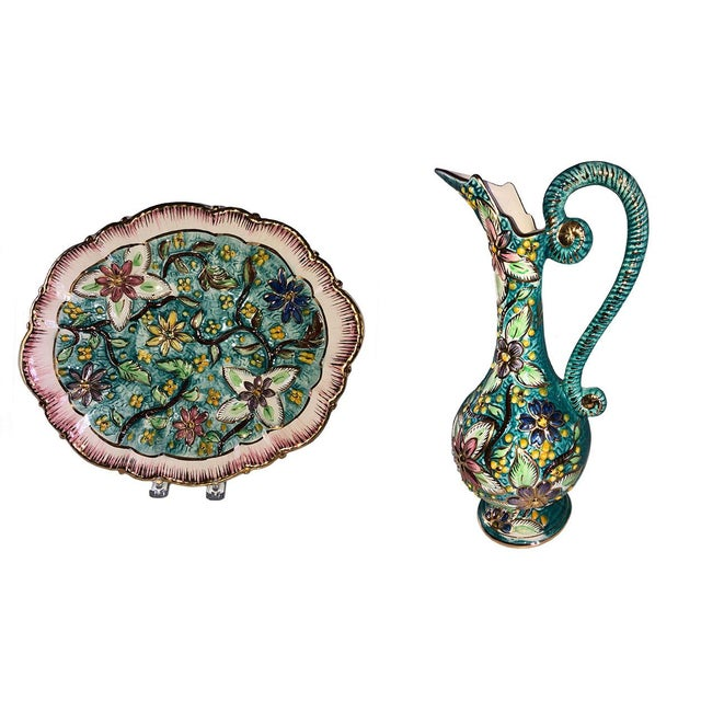 Green Italian Hand Painted Vintage Floral Majolica Ewer and Platter - Two Piece Set For Sale - Image 8 of 8