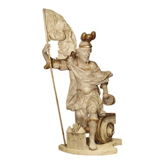 Antique Carved and Painted Statue of St. Florian. Austria, Circa 1700 For Sale