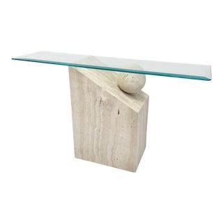 Post-Modern Italian Travertine Ponte Vedra Sofa Table For Sale