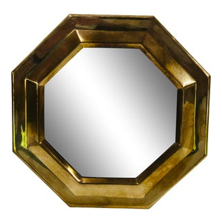 Mid Century Octagon Brass Wall Mirror For Sale
