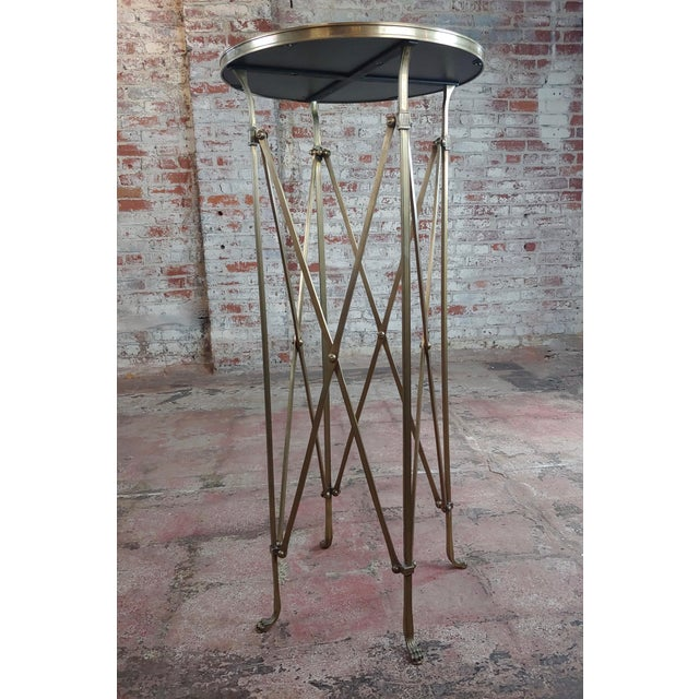 French Director Empire Campaign Bronze Tall Side Table w/Glass top Vintage Bronze & Glass Gueridon Campaign Side Table...