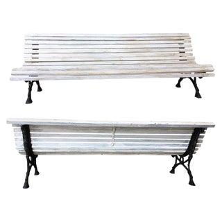 Mid-19th Century French Cast Iron Pair of Park Benches With Wood Slats For Sale
