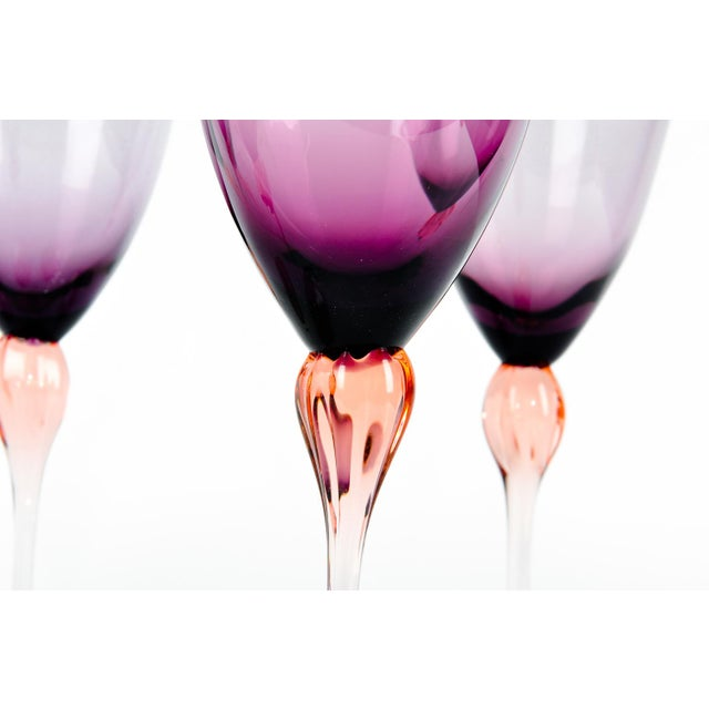 Vintage Murano Amethyst Wine Glasses For Sale In New York - Image 6 of 8
