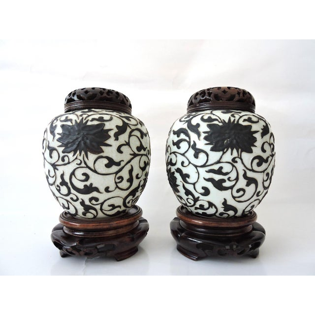 Asian Antique Brown & White Chinese Ginger Jars With Stands - a Pair For Sale - Image 3 of 5