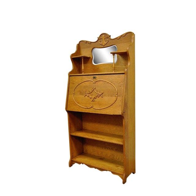 Antique Victorian Golden Oak Slant Drop Front Secretary Desk Bookcase W/  Mirror For Sale - Antique Victorian Golden Oak Slant Drop Front Secretary Desk