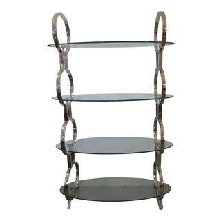 Mid-Century Chrome and Glass Shelving Unit
