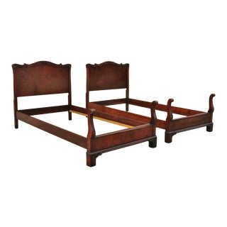 Antique Mahogany Chinese Chippendale Twin Single Carved Bed Frames - a Pair For Sale