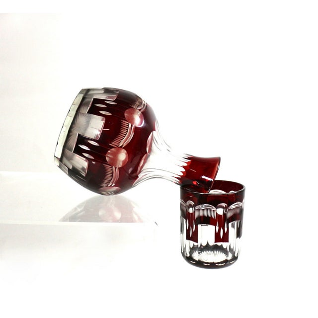 1880s Bedside Carafe & Tumbler in Cranberry Glass - Image 5 of 5