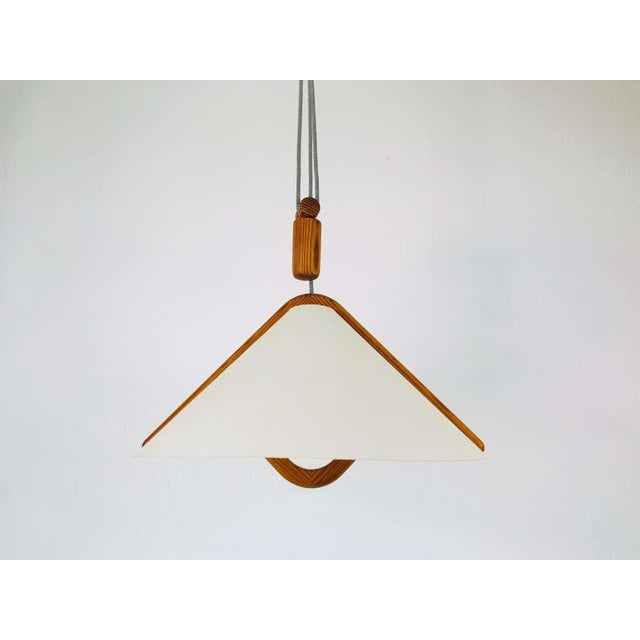 Beige Adjustable Midcentury Wooden Pendant Lamp with Counterweight by Domus, 1960s For Sale - Image 8 of 13