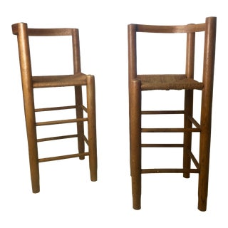 Rare Corner Bar Stools Rush Seat For Sale