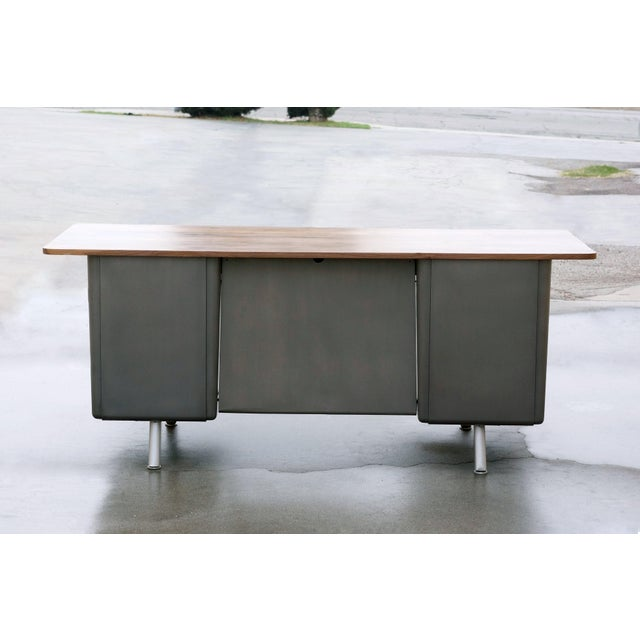 Cole Steel Mid Century Tanker Desk With Custom Walnut Top For Sale - Image 4 of 7