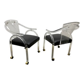 1980s Lucite and Brass Accent Chairs - a Pair For Sale
