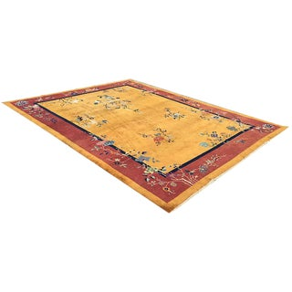 Antique Gold Ground Art Deco Chinese Rug - 9' x 12'