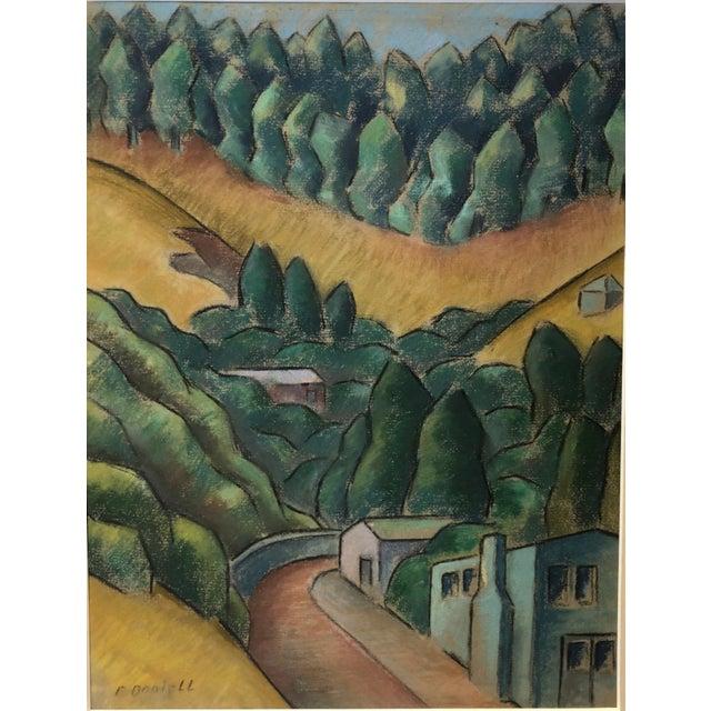 """Blue 1930s Signed Chalk California Landscape """"Larkspur"""" For Sale - Image 8 of 8"""