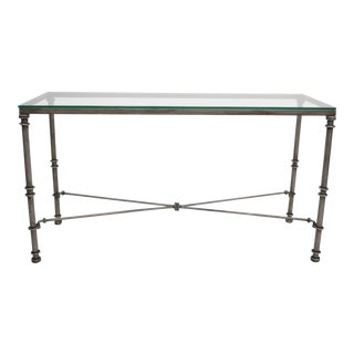 Pier 1 Medici Collection Pewter Iron Console Hall Sofa Table With Glass Top