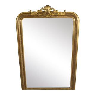 Tall Gilt Louis Philippe Mirror With Crest For Sale
