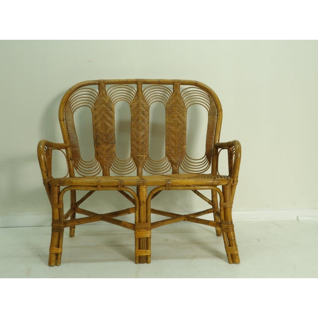 Brown Vintage Boho Chic Rattan Settee For Sale - Image 8 of 8
