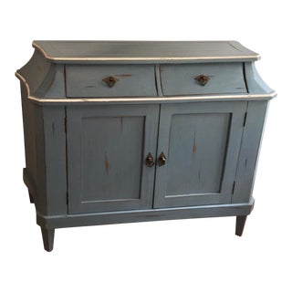 Richard Mulligan American Country Blue & White Paint Decorated Buffet or Chest For Sale