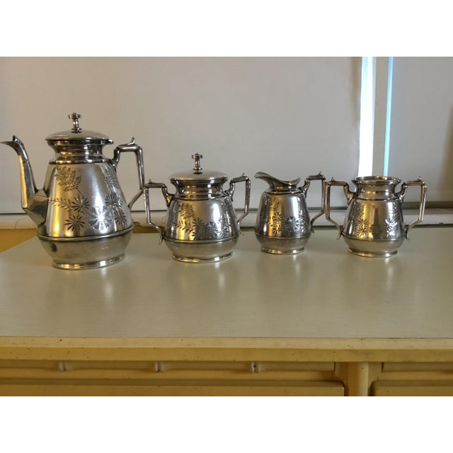 Meriden B Company Silver Plated Tea Set For Sale In Miami - Image 6 of 6
