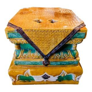 Vintage Ceramic Garden Seat For Sale