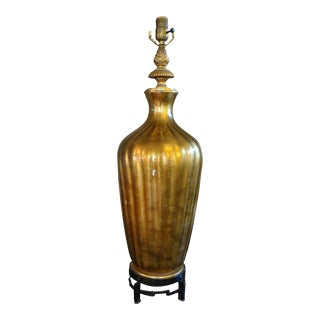 Large Mid-Century Asian Modern Italian Gold Glass Lamp on an Iron Base For Sale