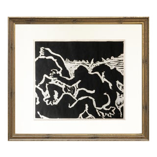 Vintage Modern Abstract Expressionist Wood Block Print For Sale