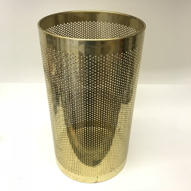 Perforated polishes Brass Bin, perfect for use as an umbrella stand or waste basket.
