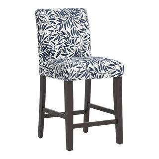 Counter Stool in Voysey Vine Blue For Sale